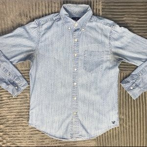 Blue faux denim button down shirt